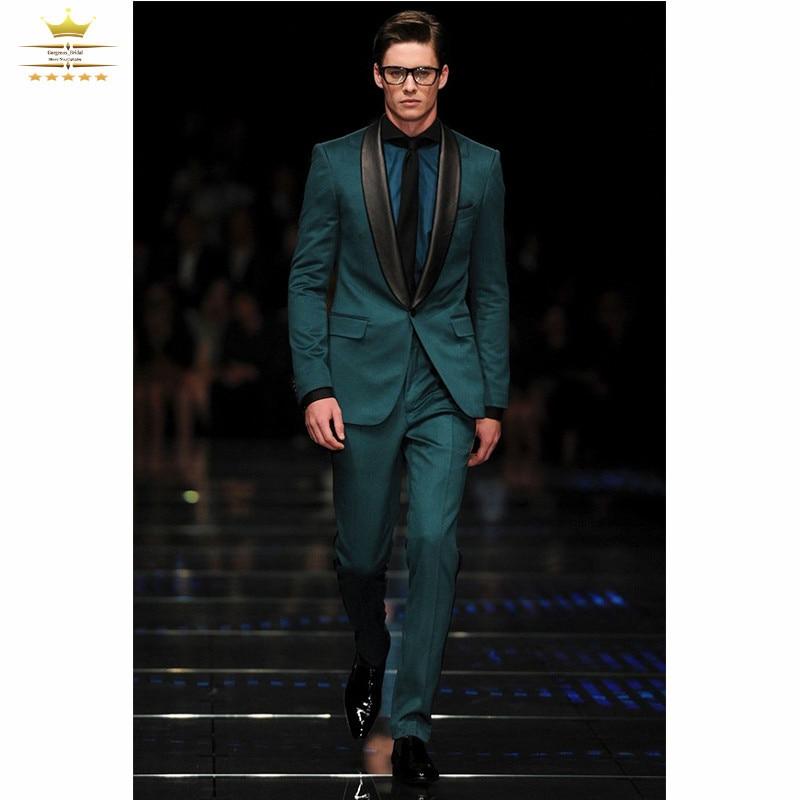 Custom Made Dark Green Mens Tuxedos Slim Fit 2015 Men Suits Set ...