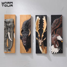 Wall Decoration 3D Animal Painting Eagle Elephant Deer Bull Mural Resin Wall Hanging Ornaments Home Accessories New Home Gift(China)