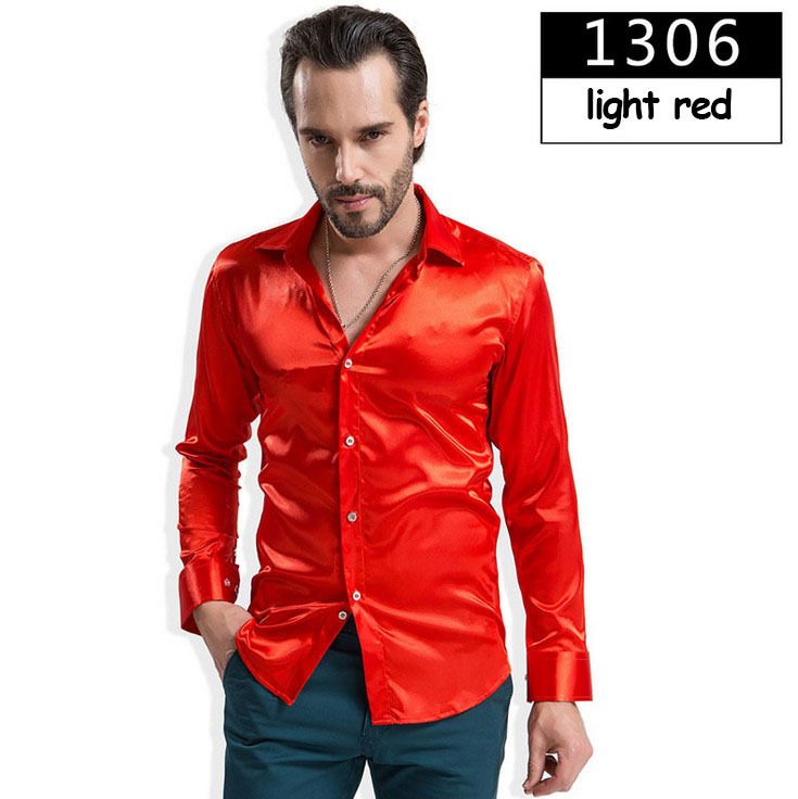 ZOEQO новая рубашка-смокинг для мужчин, 12 цветов, шелковое мужское однотонное платье с длинными рукавами, рубашка с запонками, мужские рубашки camisetas masculinas - Цвет: 1306 light red