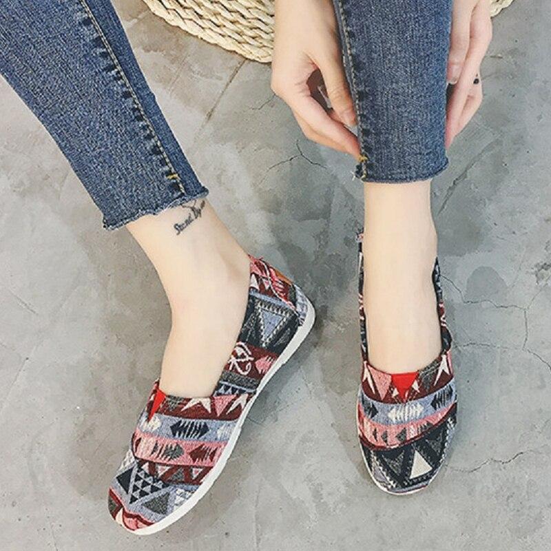 Femelle Motif Des Qualité Sur Haute A Confortable d e Rue Cool Toile Mignon Dame Doux Chaussures Plates b Glissement g Printemps Femmes h E2013 f c Z7wY6