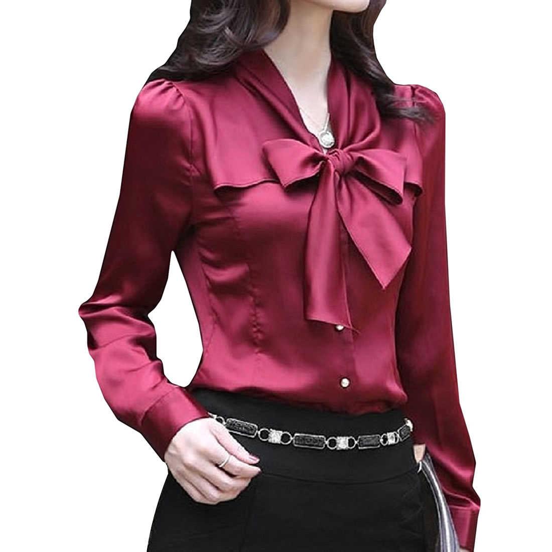 7d88cd8e ... 2018 new Satin Shirt Women Long sleeve bow collar silk Solid Blouses  women work wear uniform ...