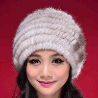 2016 New Knitted Real mink fur hat fur cap thick mink beanie headgear headdress head warmer Russian Women 10 Color
