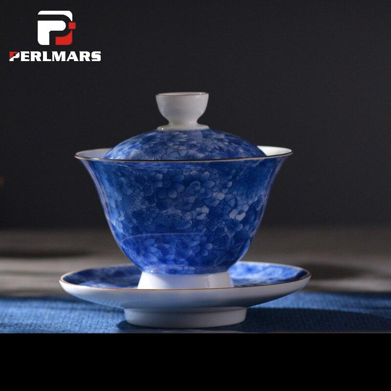 150 ml Jingdezhen Peint À La Main Bleu et Blanc Porcelaine Soupière avec couvercle Soucoupe Kit Gaiwan Teaware Kung Fu Thé Ensemble Thé cérémonie