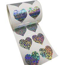 """Блестящие наклейки в форме сердца-1,1"""" дюймов-500 в рулоне-блестящие металлические фольги для учительницы металлические водонепроницаемые"""