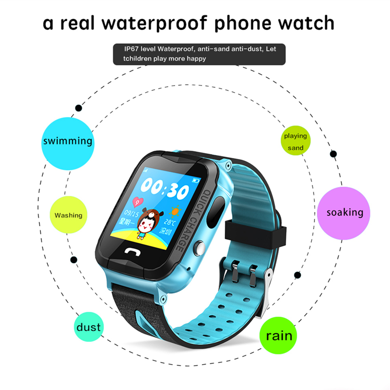 все цены на 2018 V6F Child Waterproof baby GPS Smart Watch with Camera Flashlight SOS Call Location Touch Screen Anti-Lost Monitor Tracker онлайн