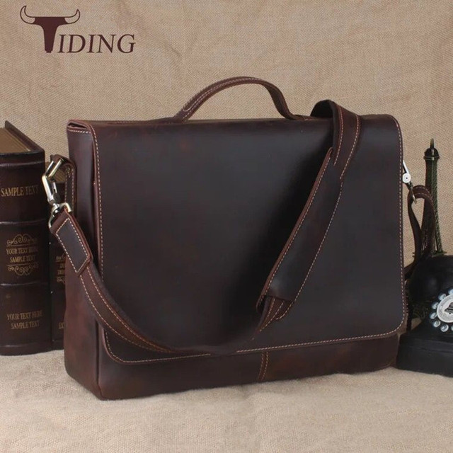 e4f276475519 Tiding Luxury Mens Briefcase Italy Crazy Horse Leather Messenger Shoulder  Tote Flap 13