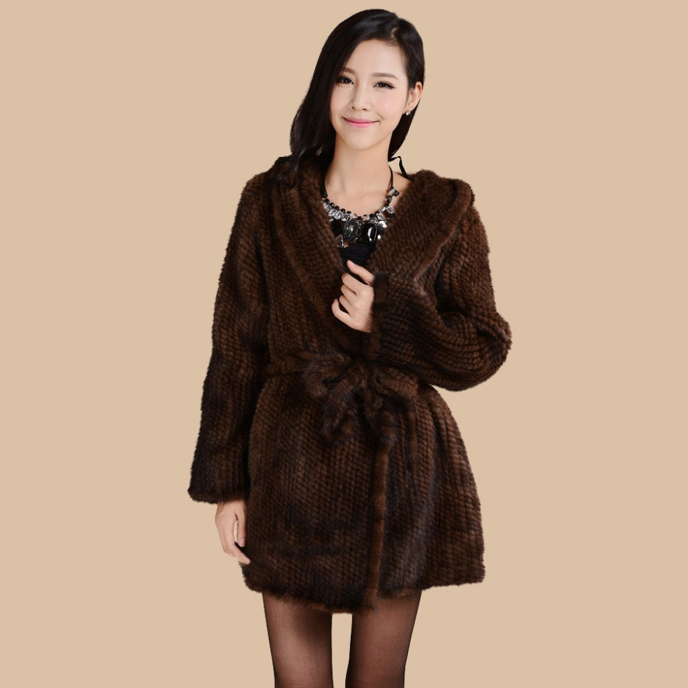 Fur Story 15180 New Fashion Knitted Women s Real Mink Fur Coat Hooded with Belt Plus
