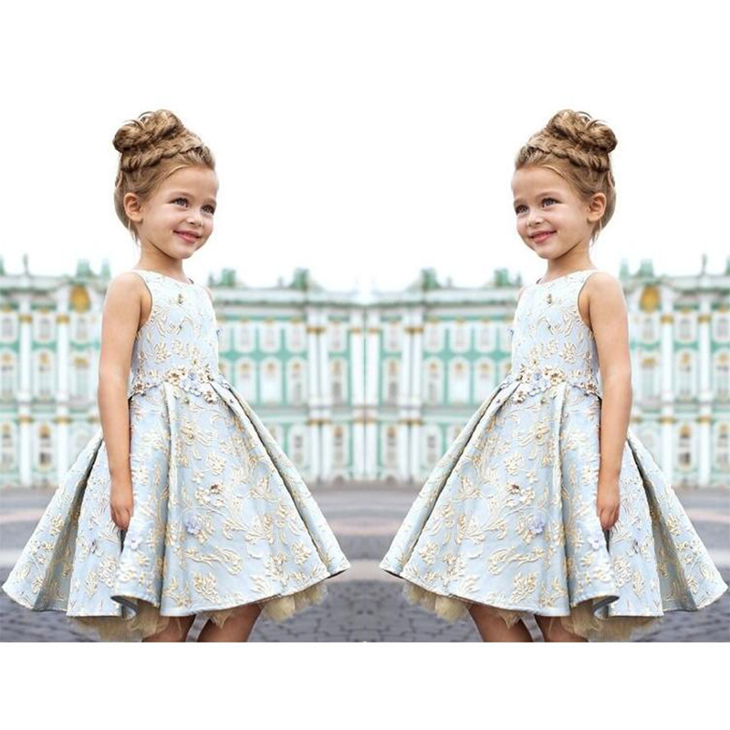 3-8yrs Baby Girls dress kids Floral Embroidery Dress Costume For Girls Princesse Dress Kids Party Dresses Teenage girl clothing