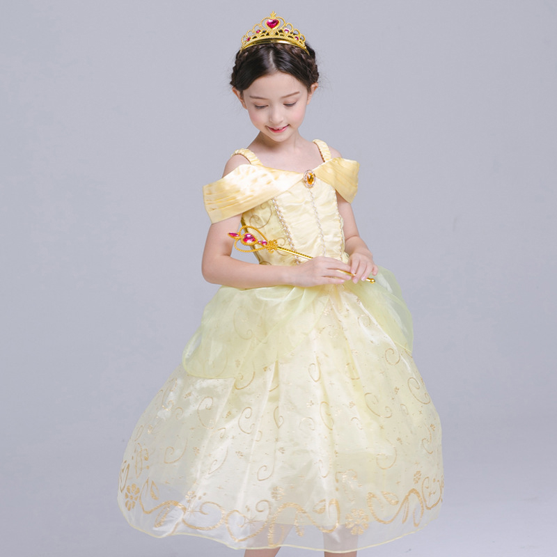 Hallowen Carnival Belle Dress Yellow Cosplay Carnival Kids Belle Princess Show Gown Party Dress for Christmas Halloween 4-10Y devil may cry 4 dante cosplay wig halloween party cosplay wigs free shipping