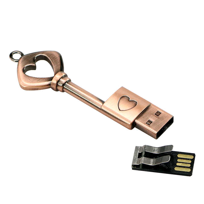 Movimentação do flash do usb 2.0 da vara da memória do pendrive 16 gb 8 gb 4 gb movimentação do flash da chave 64 gb 32 gb do coração do metal bronze