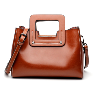 Image 2 - Винтажные женские сумки из натуральной кожи с широкими лямками, сумка через плечо, маленькая стильная дамская сумочка на ремне