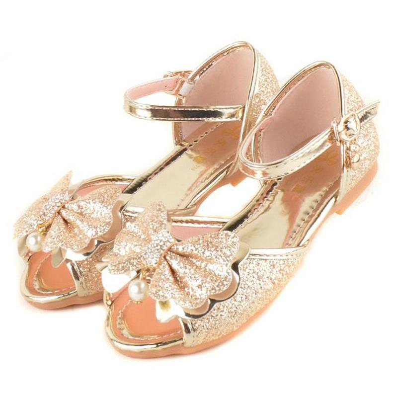 HaoChengJiaDe Girl Sandals 2018 Fish Mouth Girl Flat Bow Sequins Bottom Soft Baby Children Korean Diamond Purple Princess Shoes