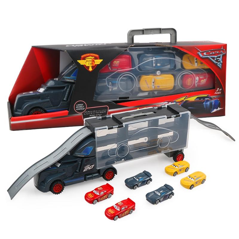 7Pcs Disney Pixar Cars 3 Lightning McQueen Jackson Storm Mack Uncle Truck 1:55 Diecast  Model Birthday Gift Toy For Boy Kid