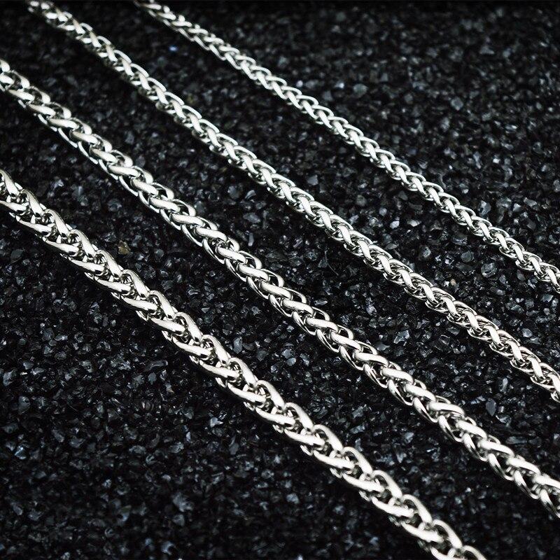 Панк Мужская цепочка для шеи, ширина 3 мм/4 мм/5 мм/6 мм, цепочка из нержавеющей стали Pop Spiga, пшеничная цепочка, колье|Цепочки|   | АлиЭкспресс