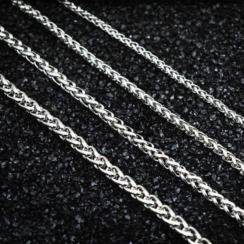 Punk mężczyźni łańcuch na szyję 3mm/4mm/5mm/6mm szerokość ze stali nierdzewnej Pop Spiga łańcuch pszenicy naszyjnik Link łańcuch Collier