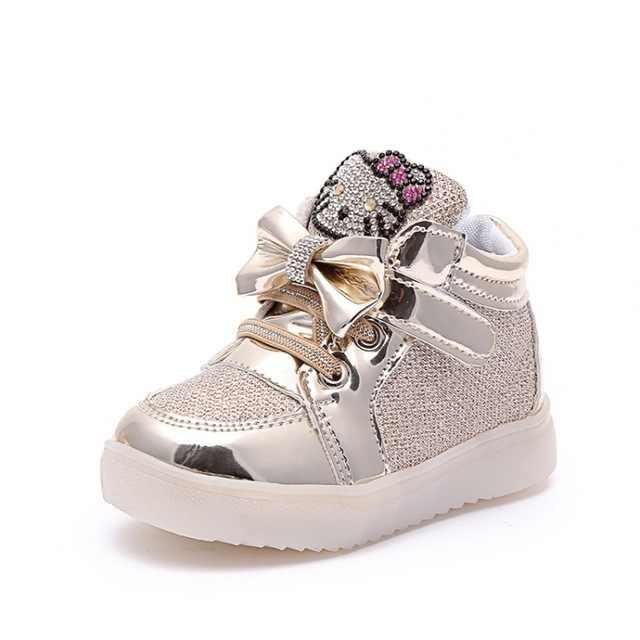 2019 LED เรืองแสงเด็กแฟชั่นรองเท้าสั้นรองเท้าแฟชั่น Hello Kitty เจ้าหญิงรองเท้านุ่มลื่นรองเท้าผ้าใบสบายๆ