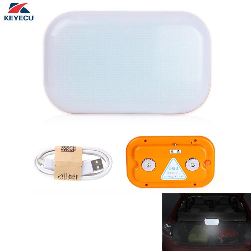 KEYECU White 12V 28Led USB Charging Emergency Service Truck Car Vehicle Strobe Warning Light with Magnetic Base for Deck Dash
