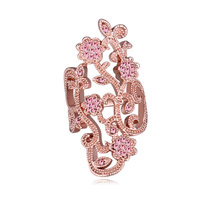 New Top Quality Brand Fashion Big Flower Ring Rose Gold Plated Jewelry For Women Made With
