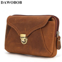 Купить с кэшбэком DAWOBOB High quality travel Bags men waist bag Vintage Genuine Leather small Waist Pack buisness Belt Bag