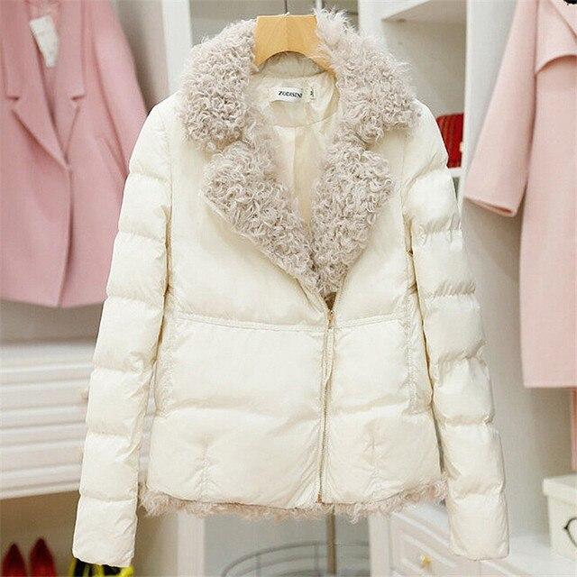 Женская Одежда Дамы Короткие Зимние Куртки ватные Куртки тонкий слой женщина искусственного шерсти Пальто Плюс Размер