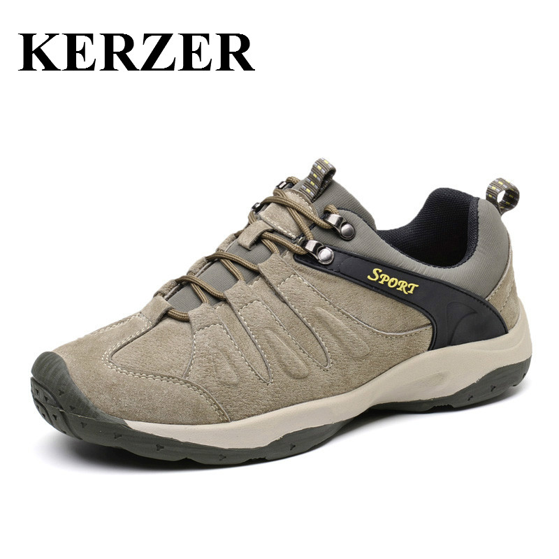 New Spring/Autumn Mountain Climbing Shoes Men Leather Outdoor Sport Sneakers Brand Breathable Boots For Hunting Shoes Men new 2017 brand men spring autumn outdoor climbing shoes couple climbing hiking lace up rubber breathable shoes 8037