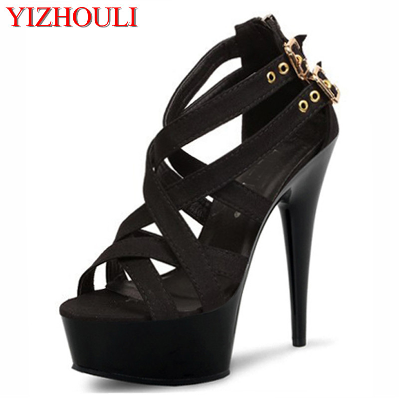 acc1d23f8785 15cm sexy clubbing pole dancing high heels 6 inch Exotic Dancer shoes  Stiletto With Platform women gladiator shoes