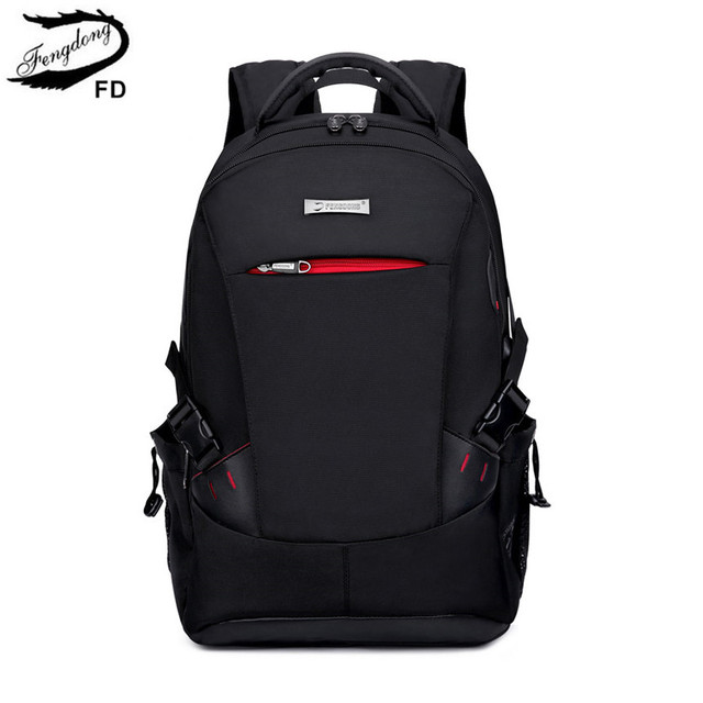 FengDong school bags for boys black waterproof laptop backpack for men luggage travel bags anti theft backpack usb bag schoolbag