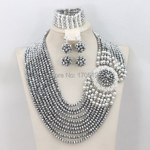 Pretty Women's Wedding Beads Jewelry Crystal African Beads Jewelry Set Necklace Fashion Hot 2017 Free Shipping ABC011