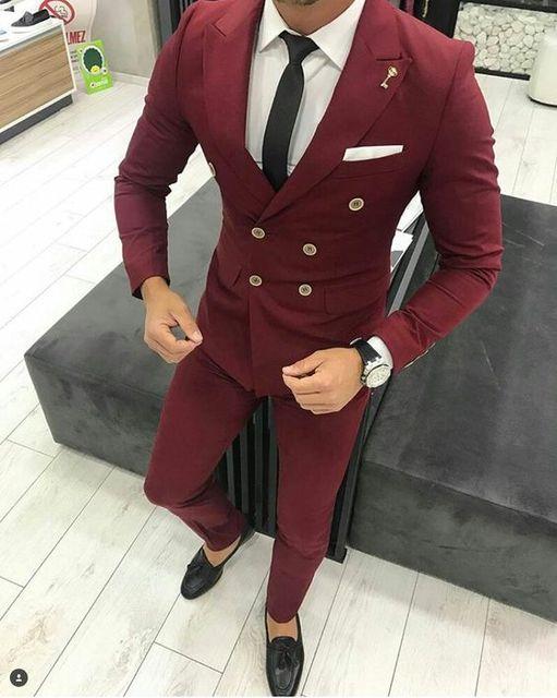 Latest Coat Pant Designs Burgundy Men Suit Double Breasted Jacket ...