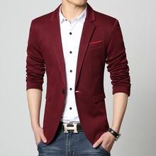 Men Blazer Single Button Patchwork Male Suite RK