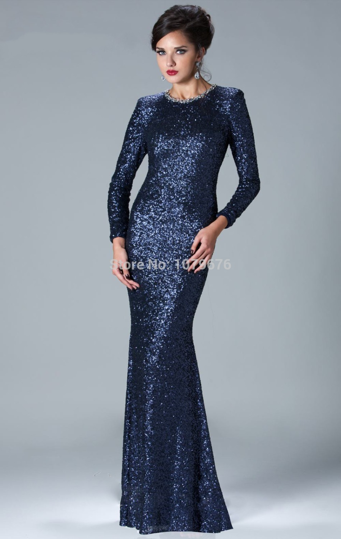 Free Shipping Vestido De Formatura Sequined Long Sleeve Navy Blue ...