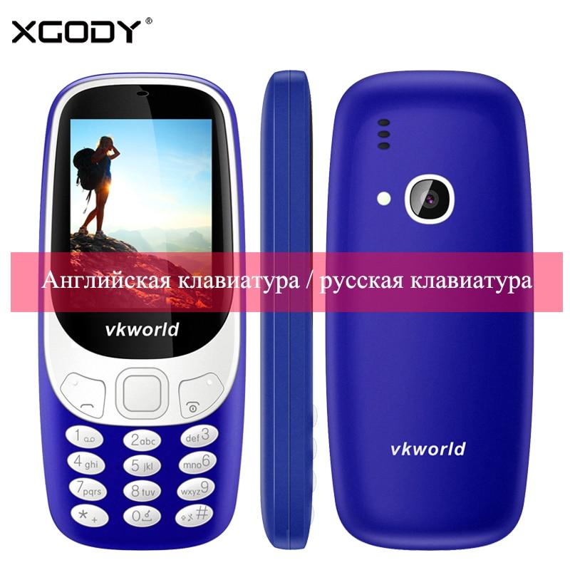 Vkworld Z3310 2G GSM Elder Phone Russian Keyboard 2.4″ 3D 1450mAh Loud Speaker FM LED Light 2MP Dual SIM Card Cheap Cell Phones