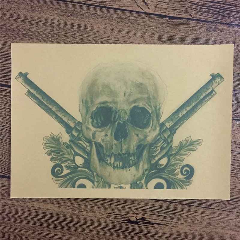 "RMFC-147 New arrival ""Skull Spear x"" Kraft paper vintage poster wall pictures for living room home decor 42x30cm Freeshipping thumbnail"