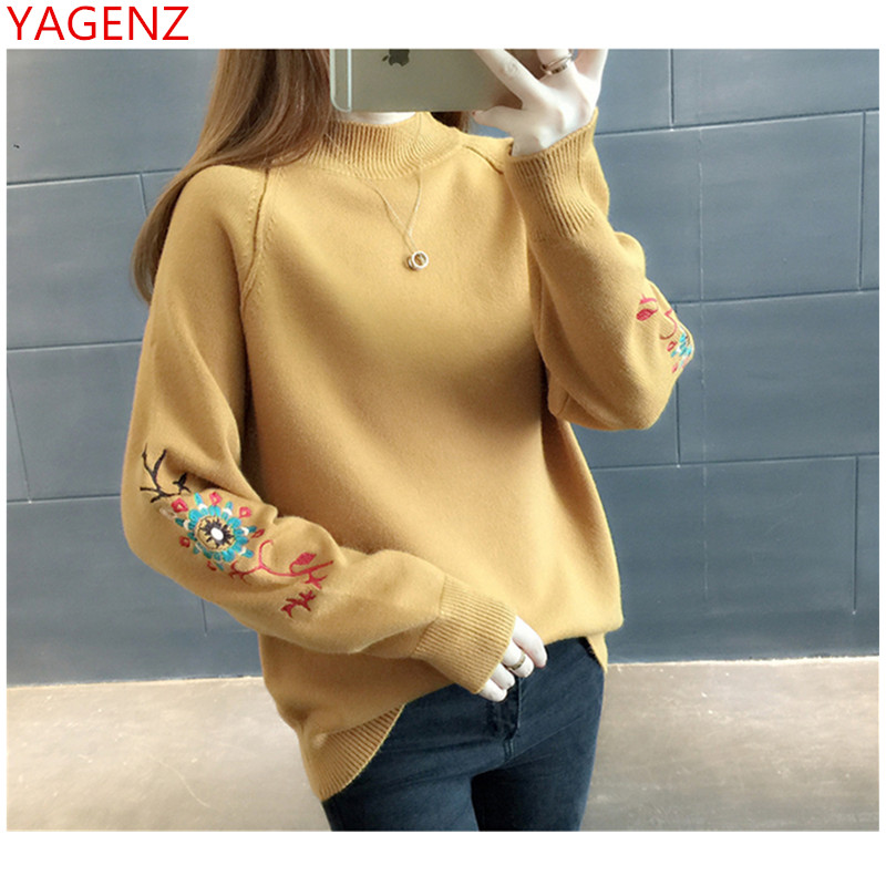Knitted Pullover Sweater Long-Sleeve Turleneck Women 1794 Tops Embroidereb High-Quality