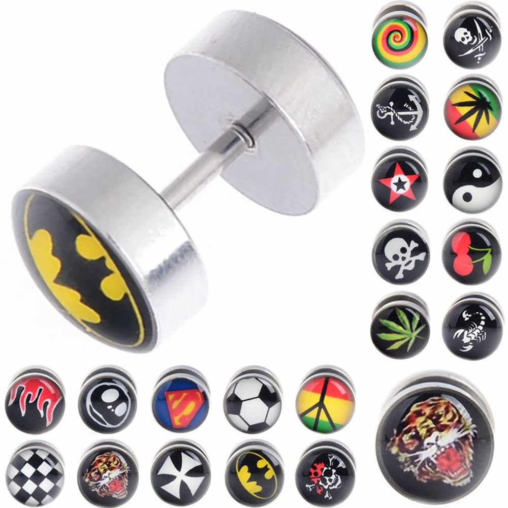 1 pc Stainless Steel Batman Barbell Ear Plug Stud Stretcher Fake Cheater Ear Tunnel Hero Earring Maple Piercing Body Jewelry
