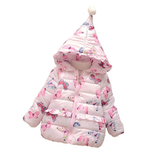 Winter Jacket For girls Fashion Butterfly Coat Children Clothes Long-Sleeved Pink Baby Girl Jacket Warm Hooded Girls Outerwaer
