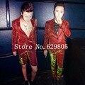 Plus Size M-4XL Red Green Gradient Color Shining Suits Set Male Singer Nightclub Focus Men's Suit Blazer Trousers Bar Costume