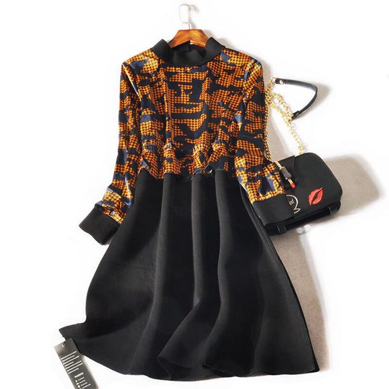 Manches Stand Couture Hiver Mousseline Soie L 2018 À De Collier Noir Espace Longues Coton Robe Femmes Ruche Taille Automne 3xl TkZiuwXOlP