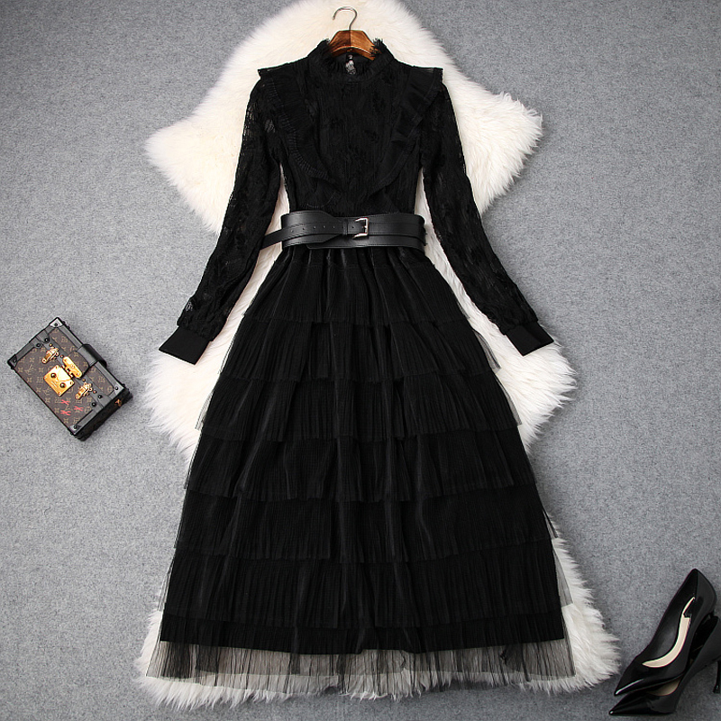 Cascade Patchwork Noir Élégant Femmes Robes Qualité Supérieure Printemps Hiver 2018 Nouvelle Dentelle Robe En Lady Casual Longues Ruffle Club OU4O1d