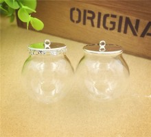 20sets 30x20mm Glass globe 20mm  silver base glass vial pendant jewelry glass bottle pendant glass dome cover charms цены онлайн