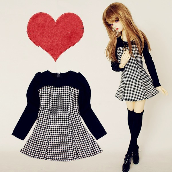 Fashion Grid Spell Color  Dress for BJD Doll 1/4 MSD,1/3 SD10/13,SD16 LUTS.AS.DZ.Super Dollfie Doll Clothes CWB11 fashion gray coat for bjd 1 4 msd 1 3 sd17 uncle doll clothes accessories