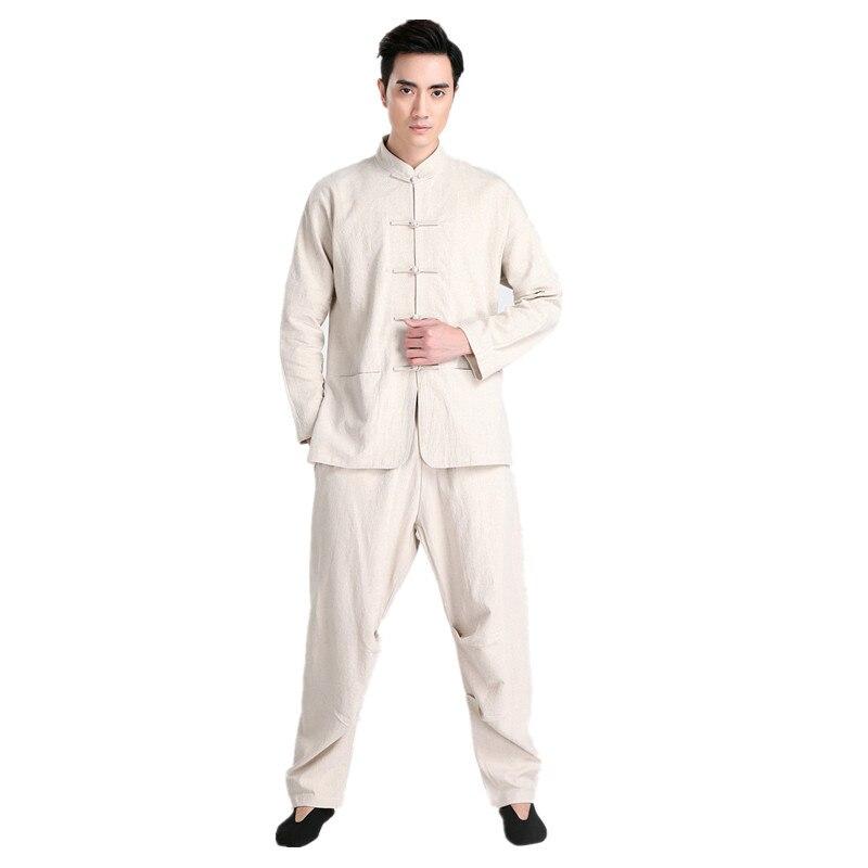 New Arrival Beige Chinese Men Kung fu Uniform Cotton Tai Chi Suit Vintage Button Clothing M