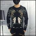 Европа Сша стиль новый зима стекаются вышивка sweatershirt тонкий печати мужская повседневная бархатные толстовки