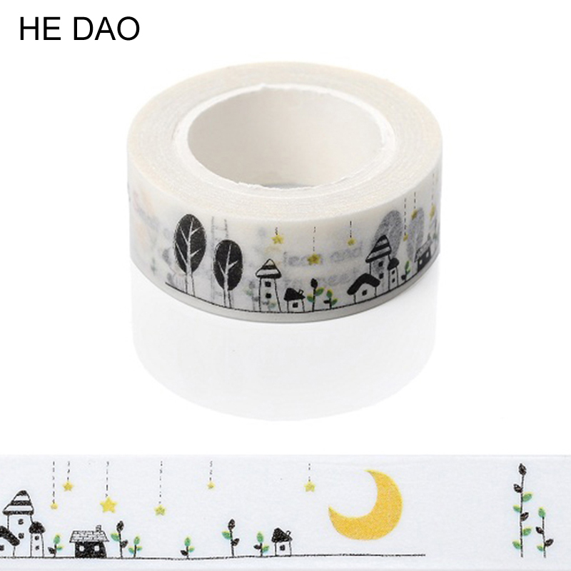 1.5cm*10m Small Town Washi Tape DIY Decoration Scrapbooking Planner Masking Tape Adhesive Tape Kawaii Stationery Supplies image