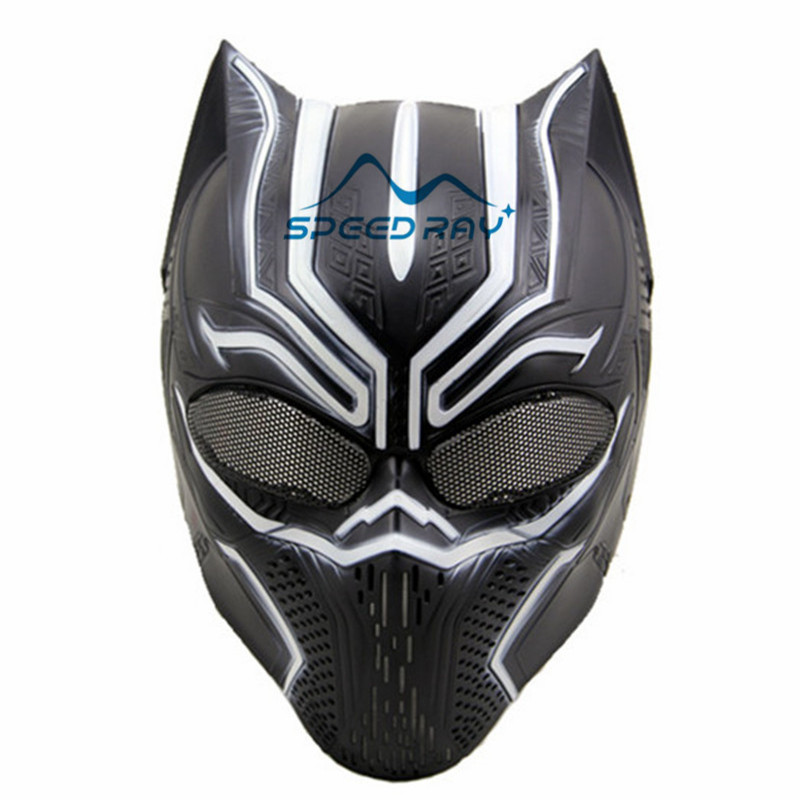 Tactical Black Panther Skull Masks paintball mask air soft CS Field war games Protection Halloween Cosplay Ball Mesh Mask
