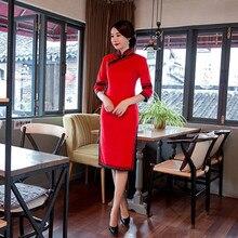 ด้านคุณภาพวินเทจของผู้หญิงผ้าฝ้ายสั้นCheongsamแฟชั่นสไตล์จีนชุดที่สง่างามQipaoขนาดSml XL XXL XXXL F101312