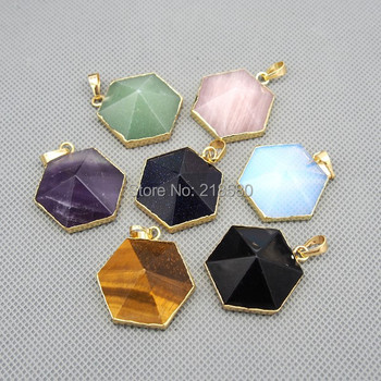 P15080507 Healing Crystal Or Stone Geometry Pendant Hexagon Charm With Gold Electroplated