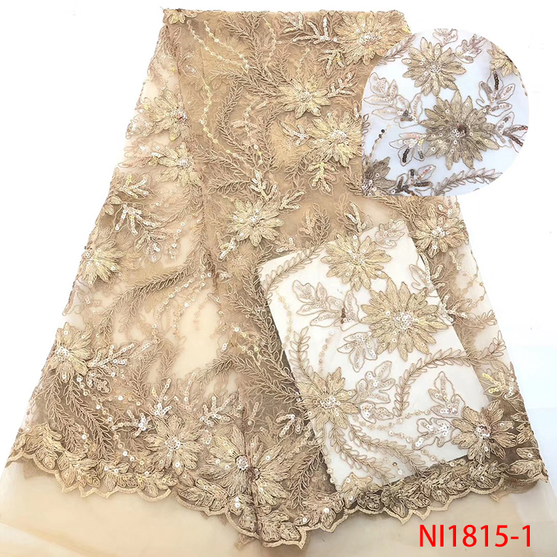 French Nigerian Laces Fabrics 2019 High Quality Sequins African Lace Fabric Latest Embroidered Tulle Lace For Dresses KSNI1815-1