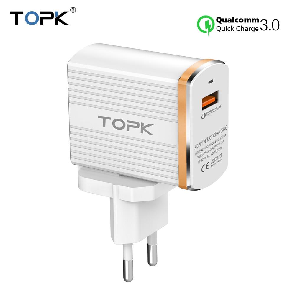 TOPK 18 Вт Quick Charge 3,0 USB Зарядное устройство 1-Порты и разъёмы Путешествия стены мобильный телефон Зарядное устройство для samsung Xiaomi huawei адаптер ЕС...