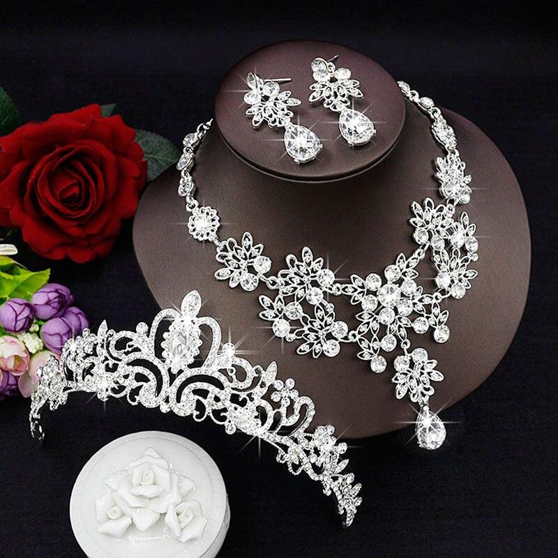 Moda de Luxo Strass Casamento Conjuntos De Jóias de Noiva Casamento Jóias Acessórios de Noiva Tiara Colar Brinco de Noiva Coroas (17)